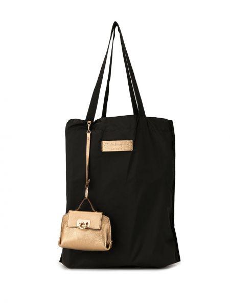 Золотистая желтая нейлоновая сумка шоппер с камнями Salvatore Ferragamo Pre-owned