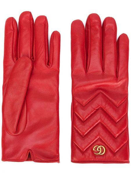 Skórzany rękawiczki pikowana Gucci
