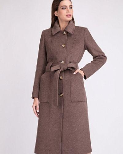 Коричневое шерстяное пальто с воротником Electrastyle