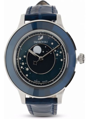 Zegarek kwarcowy srebrny - niebieski Swarovski