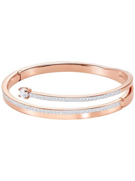 Золотистый белый золотой браслет с камнями металлический Swarovski