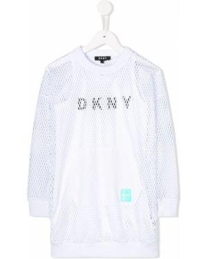 Белое платье с рукавами круглое сетчатое в рубчик Dkny Kids