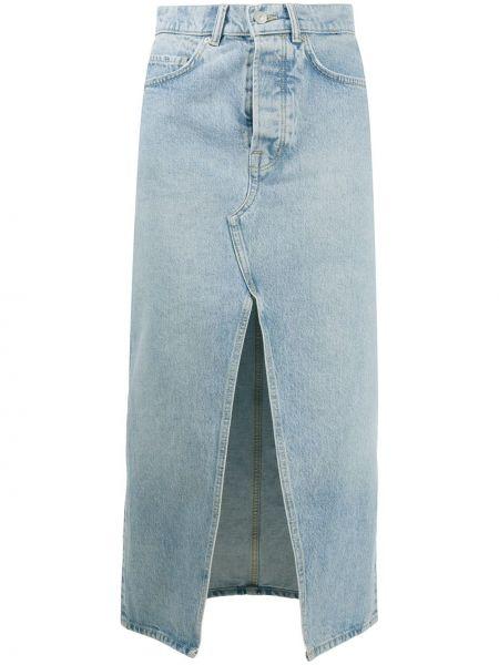 Синяя классическая джинсовая юбка на молнии с разрезом Allsaints