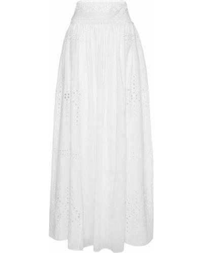 Biała spódnica maxi z wysokim stanem bawełniana Ermanno Scervino