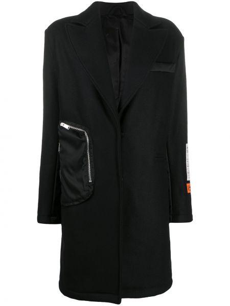 Шерстяное черное длинное пальто оверсайз Heron Preston