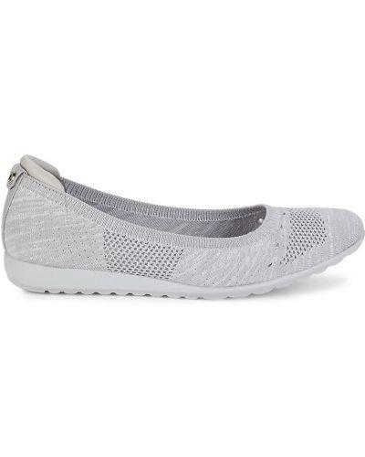 Балетки на каблуке - серебряные Anne Klein