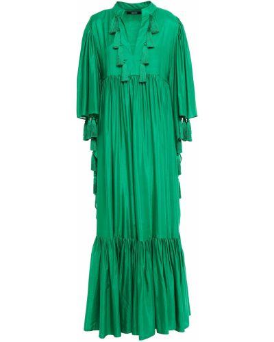 Зеленое платье макси из вискозы с подкладкой Badgley Mischka