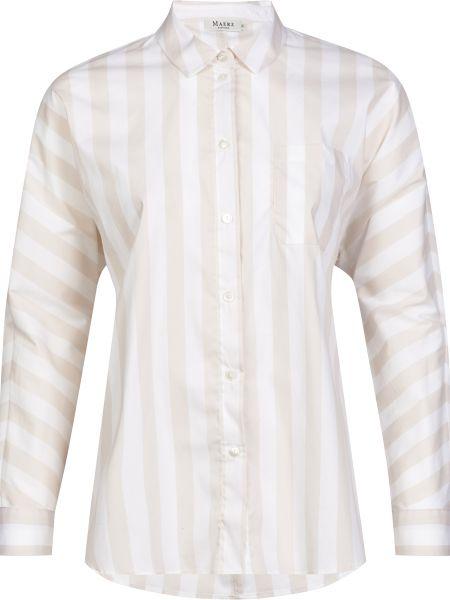 Хлопковая бежевая рубашка на пуговицах Maerz