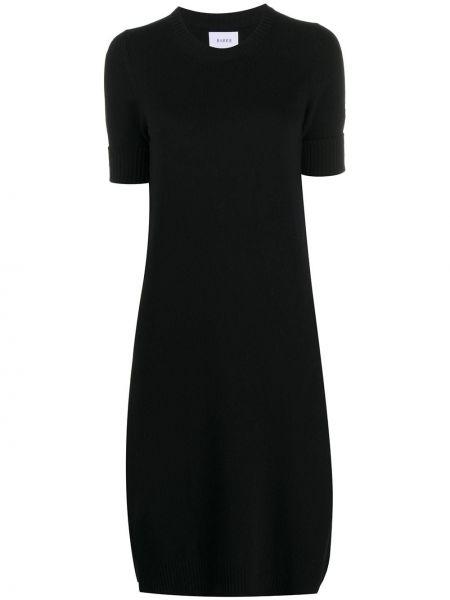 Кашемировое черное тонкое платье мини в рубчик Barrie