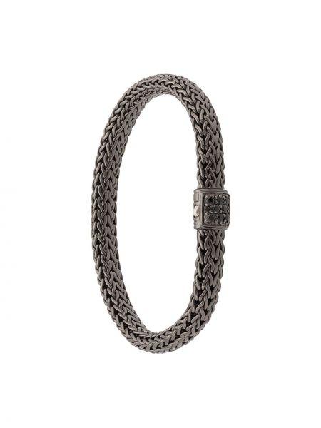 Тонкий классический черный браслет c сапфиром John Hardy