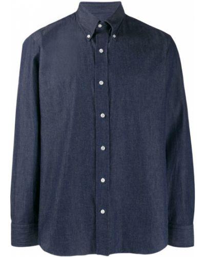 Синяя классическая джинсовая рубашка узкого кроя на пуговицах Salvatore Piccolo