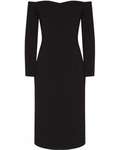 Шерстяное с рукавами черное платье миди ли-лу