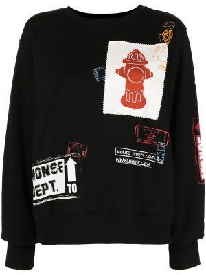 Czarny pulower bawełniany prążkowany Monse