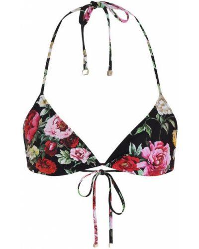 Черный купальник в цветочный принт Dolce & Gabbana