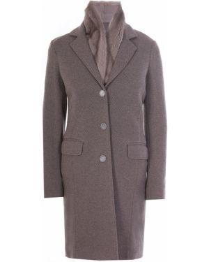 Коричневое пальто на пуговицах с лацканами с карманами Manzoni 24