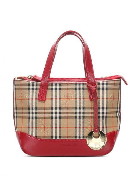 Коричневая сумка-тоут на молнии с декоративной отделкой с подвесками Burberry Pre-owned