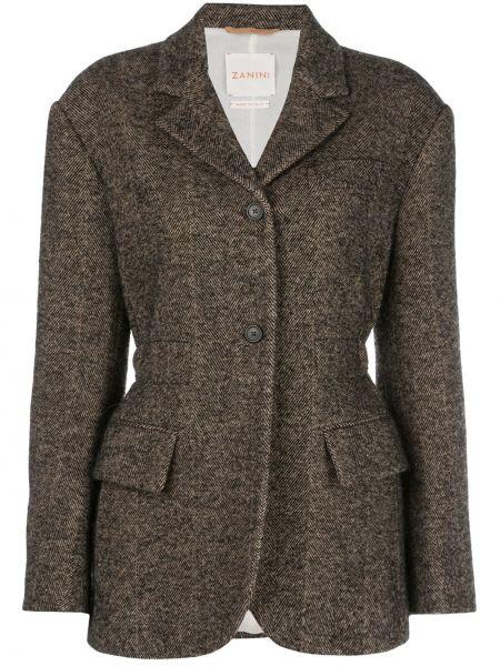 Коричневый приталенный удлиненный пиджак с карманами Zanini