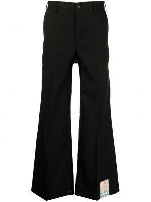 Czarne spodnie z wysokim stanem z paskiem Doublet