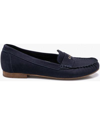 Темно-синие кожаные мокасины Carinii
