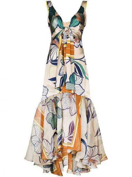 Синее шелковое платье миди с V-образным вырезом с завязками Silvia Tcherassi