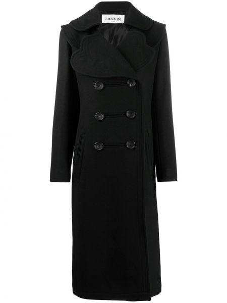 Шерстяное черное пальто с капюшоном Lanvin