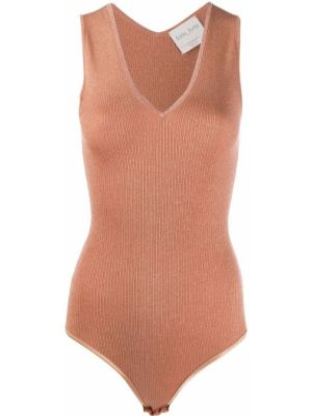 Шерстяное розовое боди без рукавов Forte Forte