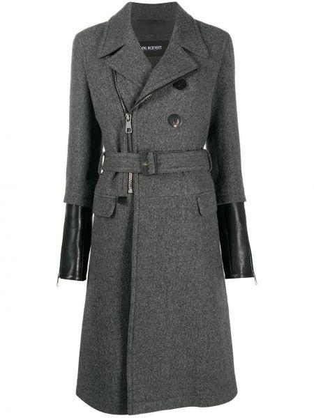Серое кожаное пальто двубортное Neil Barrett