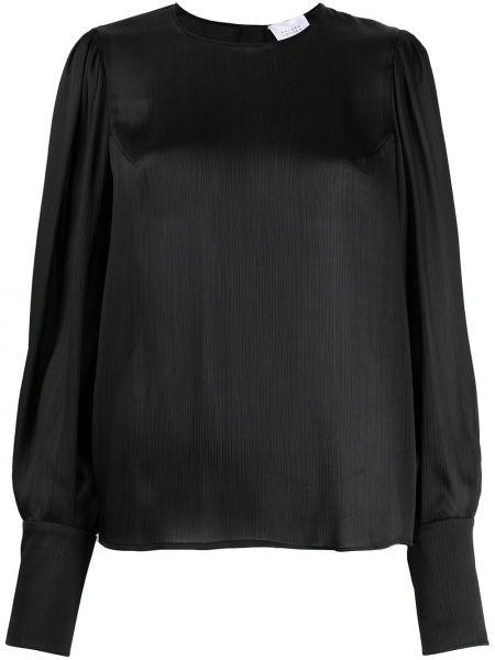 Черная прямая блузка с длинным рукавом с вырезом на пуговицах Galvan
