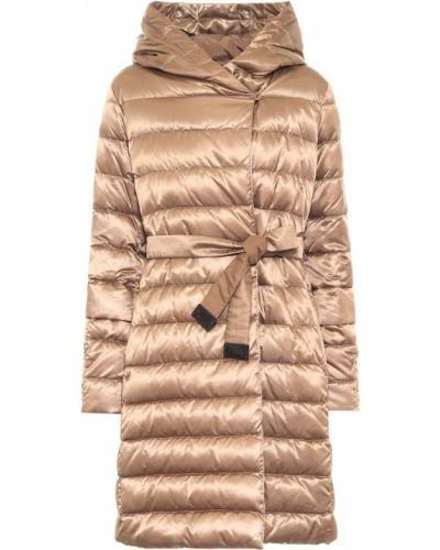 Коричневое пуховое стеганое пальто с поясом Max Mara