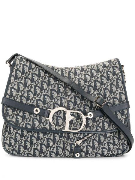Srebro brezentowy torba kosmetyczna z kieszeniami z klamrą Christian Dior