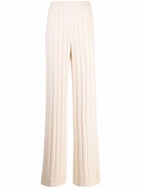 Białe spodnie prążkowane Loro Piana