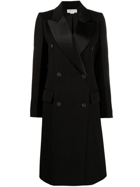 Шерстяное черное длинное пальто двубортное Victoria Beckham