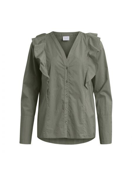 Блузка с длинным рукавом с V-образным вырезом хлопковая Vila
