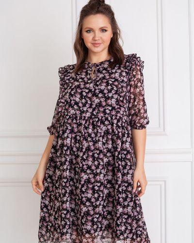 Платье из штапеля на резинке с оборками свободного кроя ангелика