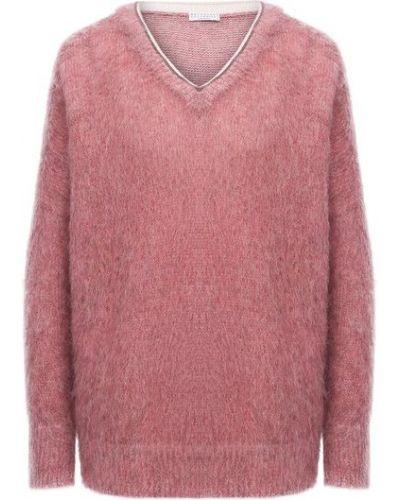 Розовый шерстяной свитер Brunello Cucinelli