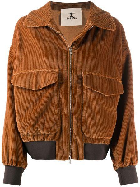 Ватная коричневая длинная куртка вельветовая Barena