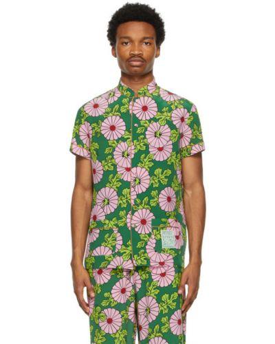 Różowa satynowa koszula krótki rękaw Gucci