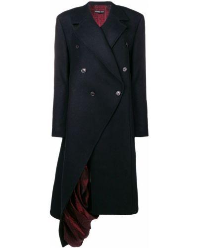 Синее шерстяное длинное пальто с капюшоном Y/project