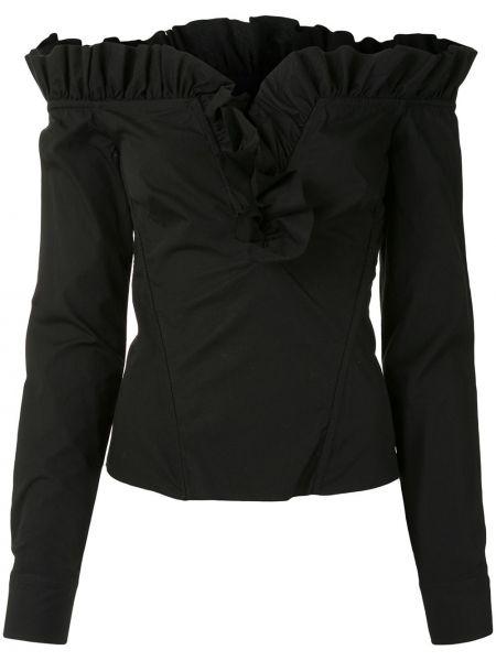 Черная приталенная блузка с длинным рукавом с V-образным вырезом с длинными рукавами Marques'almeida