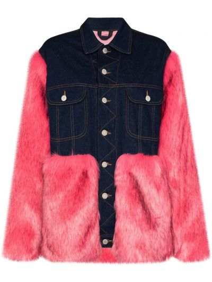 Джинсовая куртка с мехом - синяя Natasha Zinko