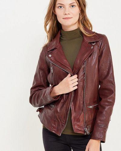 Кожаная куртка осенняя бордовый Oakwood