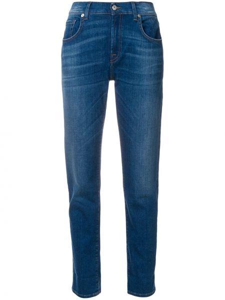 Хлопковые синие джинсы узкого кроя 7 For All Mankind