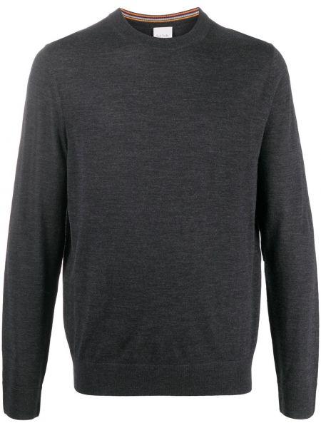 Z merynosa pulower z haftem z długimi rękawami Paul Smith