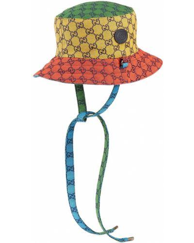 Żółty kapelusz z printem Gucci