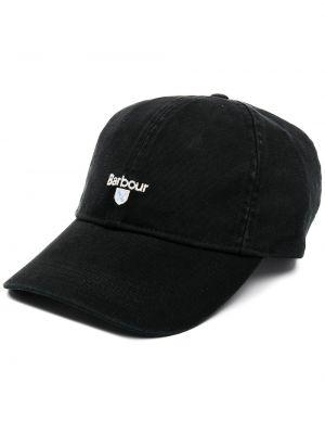 Хлопковая черная кепка с вышивкой Barbour