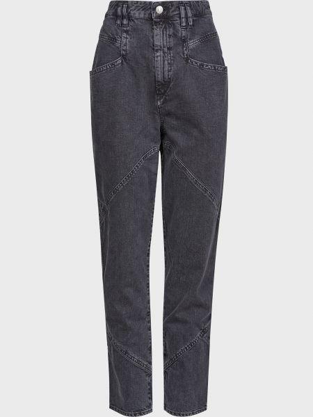 Хлопковые серые джинсы на молнии Isabel Marant