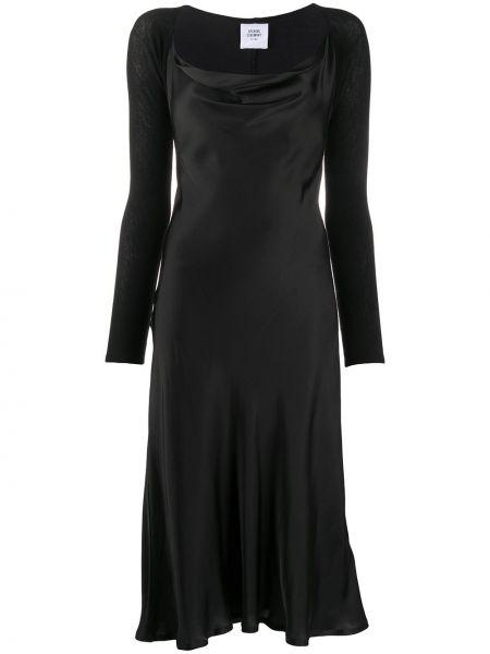 Черное открытое платье миди с открытой спиной с воротником Opening Ceremony