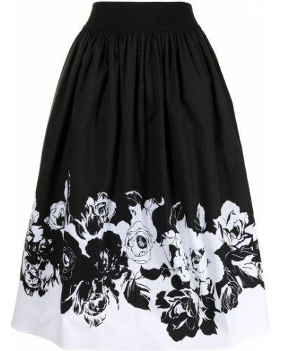 Хлопковая с завышенной талией черная юбка миди Adam Lippes