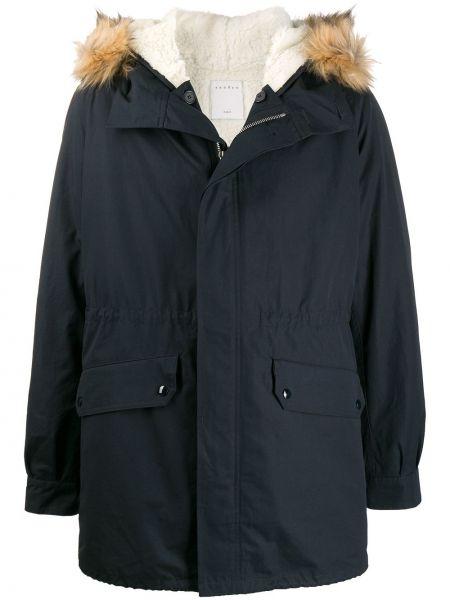 Синее пальто с капюшоном из искусственного меха Sandro Paris