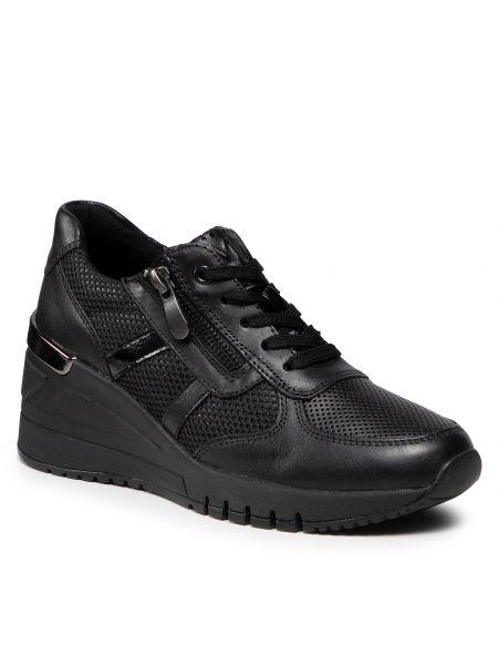 Buty sportowe skorzane - czarne Marco Tozzi
